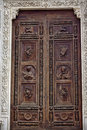 Carved Wooden Door Santa Croce Cathedral Florence Royalty Free Stock Photo