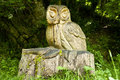 Carved wooden owl large hand tree stump Stock Photos
