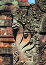 Carving .Banteay Srei Temple. Angkor. Cambodia. Royalty Free Stock Photography