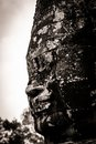Carving of Bayon Temple at Angkor in Cambodia Royalty Free Stock Photos