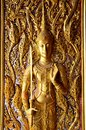 Carving and sculpture angel thai style on the door of church Royalty Free Stock Photo