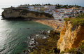 Carvoeiro in the algarve in portugal with atlantic ocean Royalty Free Stock Photos