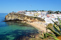 Carvoeiro algarve view of praia da beach and village from the cliffs Stock Image