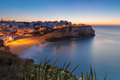 Carvoeiro village while climbing of the sun portugal sunrise Stock Image