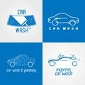 Carwash, car wash set of vector logo, icon, symbol, emblem