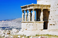 Caryatid Porch of Erechtheum at Acropolis Royalty Free Stock Photos