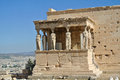 Caryatid porch of erechtheum at acropolis athens greece Stock Photography