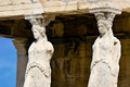 Caryatid sculptures acropolis of athens greece caryatides Stock Images