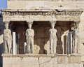 Caryatids ancient statues, erechteion temple, Greece Royalty Free Stock Photo
