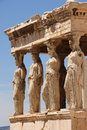 Caryatids at Porch of the Erechtheion, Acropolis Royalty Free Stock Photo
