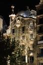 Casa Batllo illuminated at night Stock Image