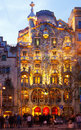 Casa Batllo in night in Barcelona Royalty Free Stock Photography