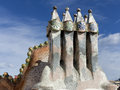 Casa batllo roof architecture at antoni gaudi barcelona Stock Image