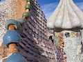 Casa batllo roof architecture at antoni gaudi barcelona Royalty Free Stock Image