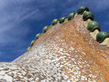 Casa batllo roof architecture at antoni gaudi barcelona Royalty Free Stock Photography