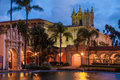Casa de balboa evening composition of in park san diego california Royalty Free Stock Photos