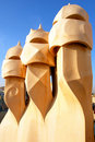 Casa Mila by Antoni Gaudi - roof top - Barcelona Stock Photos