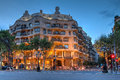 Casa mila barcelona spain or la pedrera by antoni gaudi in the eixample district of at twilight Stock Images
