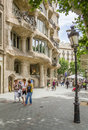 The casa mila better known as la pedrera in barcelona spain may view of designed by antoni gaudi on may Stock Photo