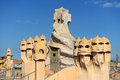 Casa mila eixample district barcelona spain the chimneys on top of the milà la pedrera is an modernism masterpiece by architect Royalty Free Stock Photography