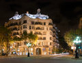 Casa Mila by night Royalty Free Stock Photos