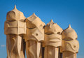 Casa mila statues gaudi chimneys at also called la pedrera Royalty Free Stock Images