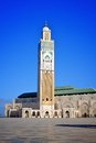 Casablanca king hassan mosque ii and minaret with a blue sky in the background Stock Image