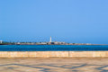 Casablanca maritime lighthouse and shore seen from Hassan II mosque terace Royalty Free Stock Photo