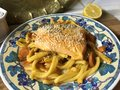 Casarecce pasta with trout in orange marinade.