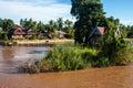 Casas do pernas de pau em mekong river Fotos de Stock Royalty Free