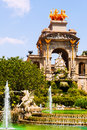 Cascada fountain in barcelona in summer day spain Stock Photography