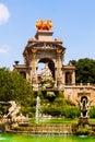 Cascada fountain in barcelona in sunny day spain Royalty Free Stock Image