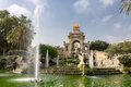 Cascada fountain parc de la ciutadella barcelona the a golden charriot with four horses and several greek statues park catalunia Stock Image