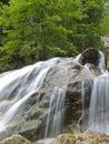 Cascade à écriture ligne par ligne sur le fleuve de montagne Images libres de droits