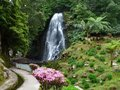 Cascade at the azores sao miguel island biggest island of archipelago a group of vulcanic islands located in middle of Stock Photo