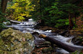 Cascade deep in the autumn forest a flowing Royalty Free Stock Image