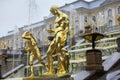 Cascade grande de fontaines dans pertergof st petersburg russie Photos libres de droits