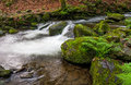 Cascade on the little stream with stones in forest Royalty Free Stock Photo