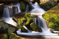 Cascade with mossy rocks water falls over a jumble of moss covered boulders in great smoky mountains national park tennessee usa Royalty Free Stock Image
