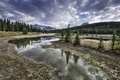 Cascade ponds reflections reflective and picturesque just outside of banff in banff national park canadian rockies alberta canada Stock Image