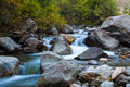 Cascade waterfalls of the mountain river Royalty Free Stock Photo