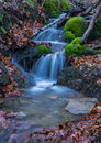 Cascades in the forest little water deep into nearby daruvar croatia photographed at winter day Royalty Free Stock Photos