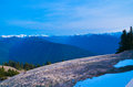 Cascades mountains in the northern part of america washington top covered with snow view from peak mount olympic Stock Image