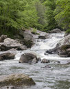 Cascades type waterfalls on the cullasaja river on hwy us south of highlands nc can be seen from the road photographed june Stock Images