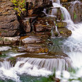 Cascades waterfall and on stream Royalty Free Stock Image