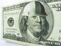 Casco d uso della costruzione di ben franklin one hundred dollar bill Fotografia Stock Libera da Diritti