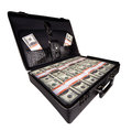 Case full of dollar on white background Stock Image