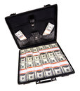 Case full of dollar on white background Royalty Free Stock Photos