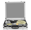 Case with money gun and drugs silver on white background Stock Photo