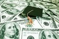 Cash cap mini graduation on us Stock Photo